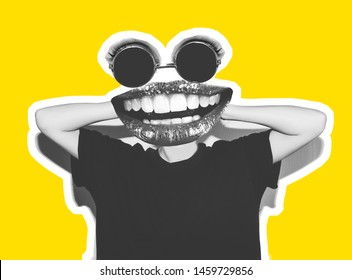 A collage of paintings of modern art. Stylish fashionable sexy insanely crazy girl in a black T-shirt and rock glasses screams, holding her head. Dangerous rocky emotional girl yellow background.