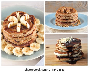 Collage with pancakes with different toppings.