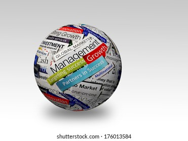 collage of paper headlines about the world economy on 3D sphere