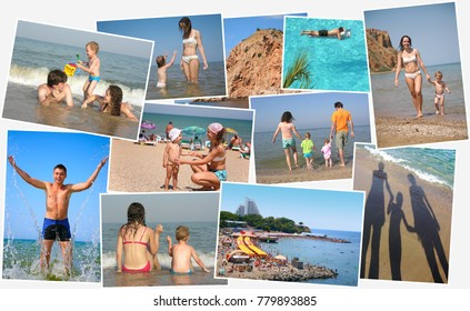 collage with parents and children vacationing on sea coast, five model