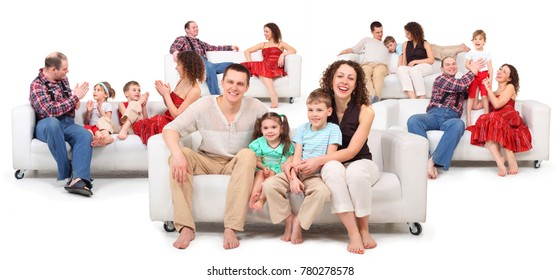 Collage with parents play with children on white leather sofa