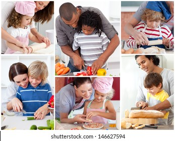 Collage of parents with their children preparing pastry