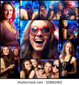 Collage of partying girls having fun in night club