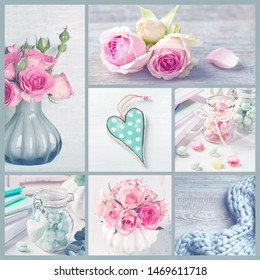 Collage with pastel colored photos of flowers and sweets