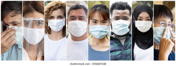 Collage of people around the world wearing face mask, concept of taking precaution measure, social distancing, coronavirus new normal lifestyle, COVID-19 vaccine complimentary protection
