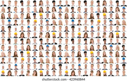 Collage Of People From Different Occupations Smiling Against White Background