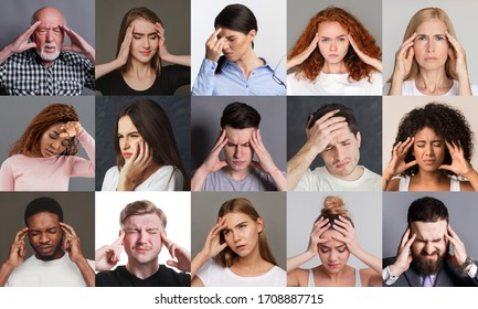 Collage with people of different races, ages and genders having migraine or feeling stressed