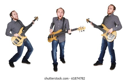 collage with people in grey shirt and jeans playing bass guitar
