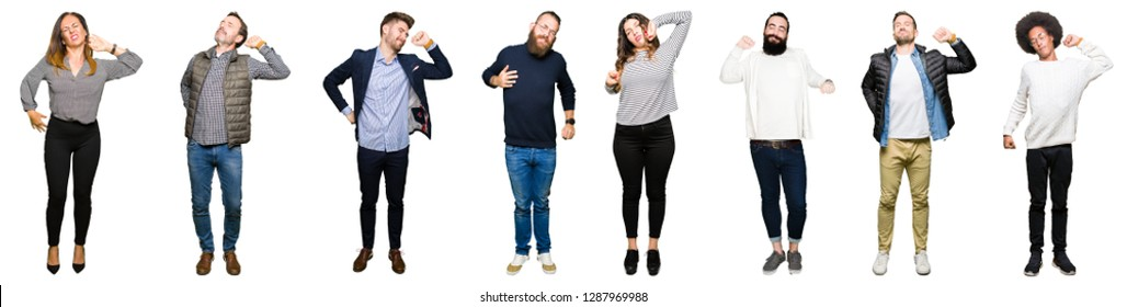 Collage of people over white isolated background stretching back, tired and relaxed, sleepy and yawning for early morning