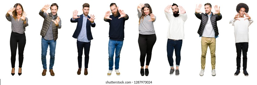 Collage of people over white isolated background Smiling doing frame using hands palms and fingers, camera perspective