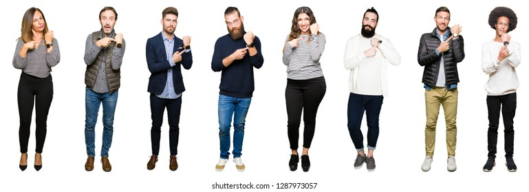 Collage of people over white isolated background In hurry pointing to watch time, impatience, upset and angry for deadline delay