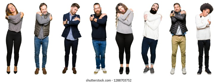Collage of people over white isolated background Hugging oneself happy and positive, smiling confident. Self love and self care