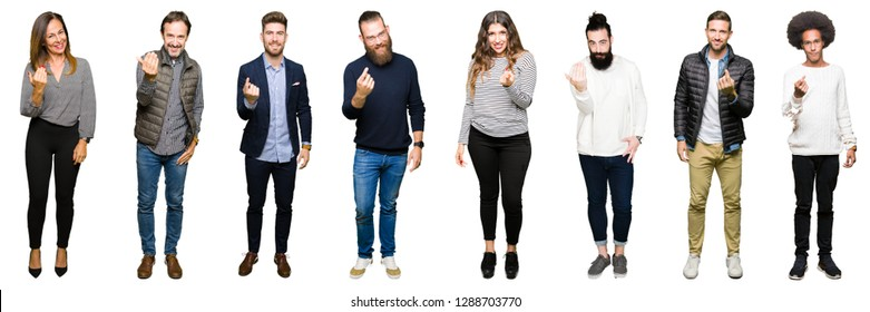 Collage of people over white isolated background Beckoning come here gesture with hand inviting happy and smiling