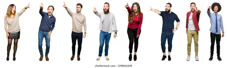Collage of people over white isolated background Pointing with finger surprised ahead, open mouth amazed expression, something in front