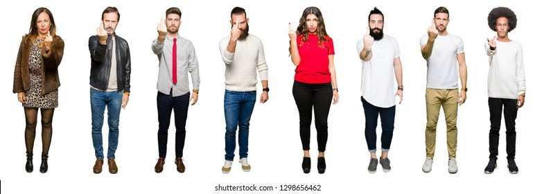 Collage of people over white isolated background Showing middle finger, impolite and rude fuck off expression