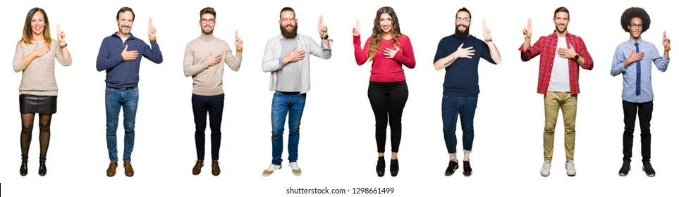 Collage of people over white isolated background Swearing with hand on chest and fingers, making a loyalty promise oath