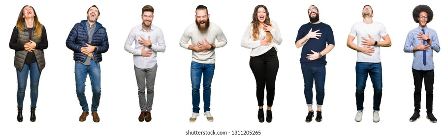 ad22b23618195 Collage of people over white isolated background Smiling and laughing hard out  loud because funny crazy