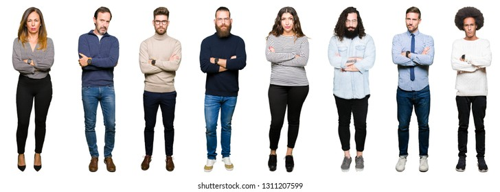 Collage of people over white isolated background skeptic and nervous, disapproving expression on face with crossed arms. Negative person.