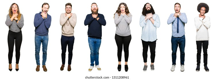 Collage of people over white isolated background shouting and suffocate because painful strangle. Health problem. Asphyxiate and suicide concept.