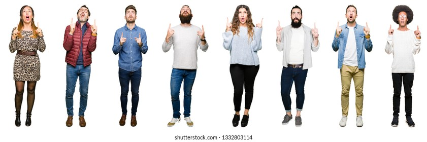Collage of people over white isolated background amazed and surprised looking up and pointing with fingers and raised arms.