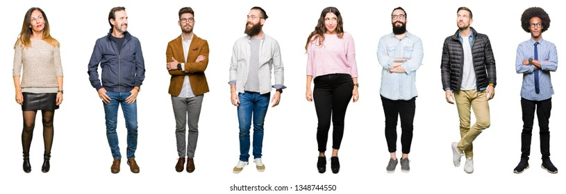 Collage of people over white isolated background smiling looking side and staring away thinking.
