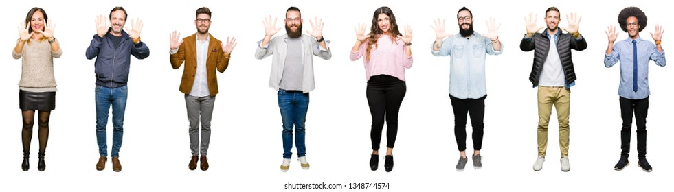 Collage of people over white isolated background showing and pointing up with fingers number ten while smiling confident and happy.