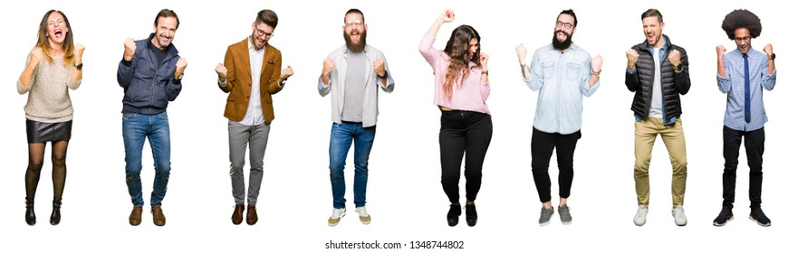 Collage of people over white isolated background very happy and excited doing winner gesture with arms raised, smiling and screaming for success. Celebration concept.