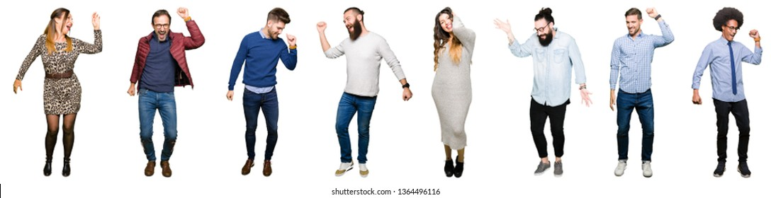 Collage of people over white isolated background Dancing happy and cheerful, smiling moving casual and confident listening to music