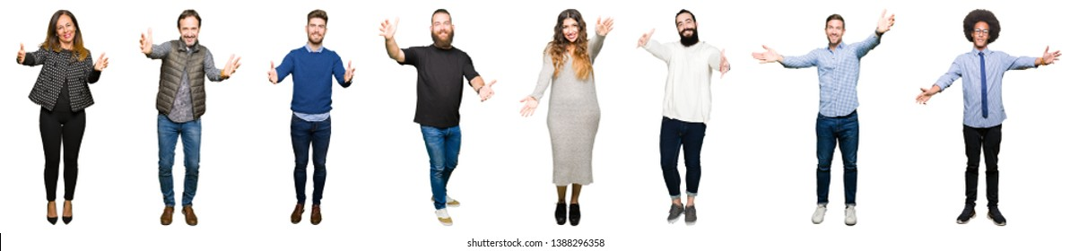 Collage of people over white isolated background looking at the camera smiling with open arms for hug. Cheerful expression embracing happiness.