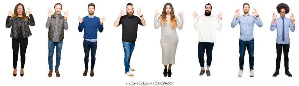 Collage of people over white isolated background relax and smiling with eyes closed doing meditation gesture with fingers. Yoga concept.