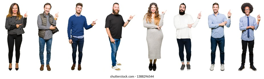 Collage of people over white isolated background with a big smile on face, pointing with hand and finger to the side looking at the camera.