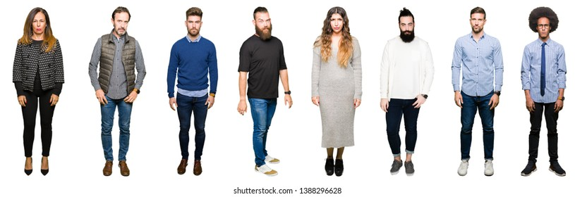 Collage of people over white isolated background skeptic and nervous, frowning upset because of problem. Negative person.