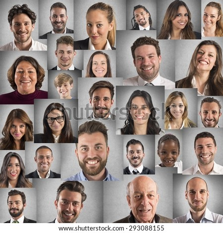 collage people portraits smiling faces stock photo edit now