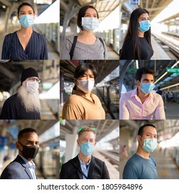 Collage of people wearing protective facial mask and social distancing at the train station