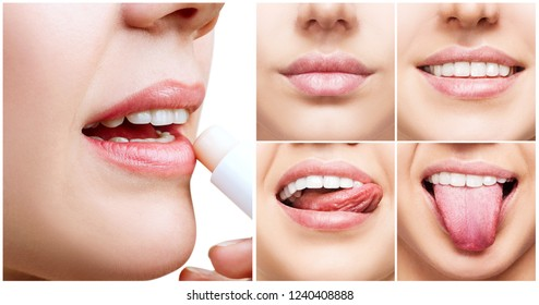 Collage with perfect female lips. Woman applying lipbalm.