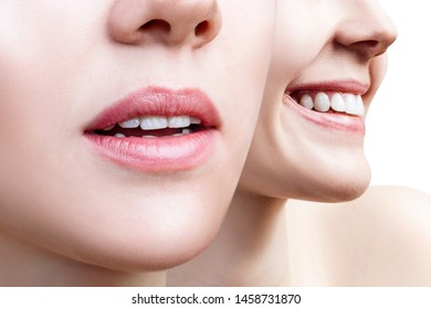 Collage of perfect female teeth closeup with text space. Isolated on white.
