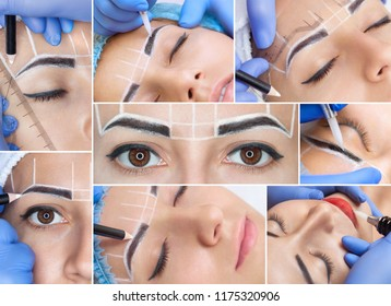 Collage of Permanent makeup procedure for eyebrows and lips of beautiful woman in beauty salon.