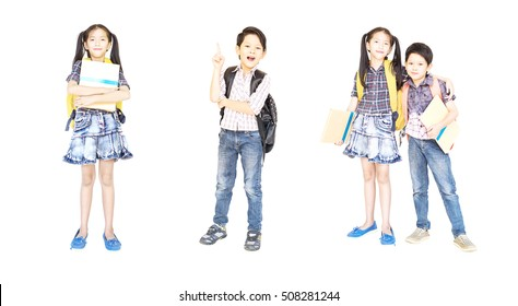 Collage photo of 10 and 7 years old Asian school girl and boy standing and holding book isolated over white