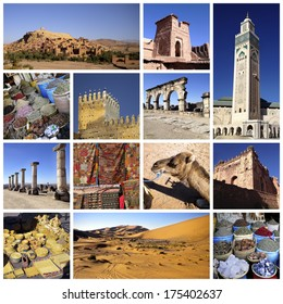 A collage of photo about Marocco and desert