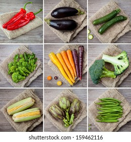 collage photo composition of different kind of vegetables
