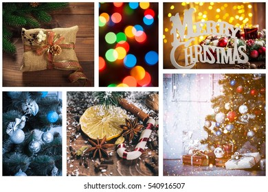 Collage with photo of decorated Christmas trees, decor, gifts and winter spices. New Year background