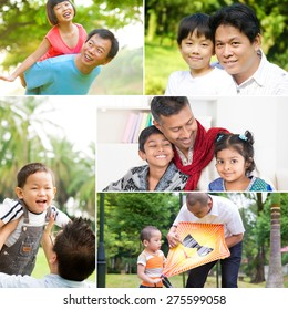 Collage photo fathers day concept. Mixed race family having fun at indoor and outdoor park. All photos belong to me.