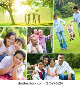 Collage photo of mixed race family having fun at outdoor park. All photos belong to me.