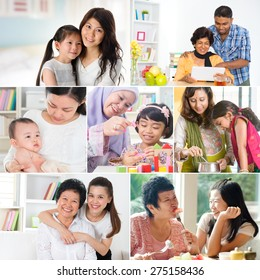 Collage photo mothers day concept. Family generations having fun indoors living lifestyle.