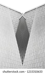 Collage photo on the subject of modern architecture. Louvered and tiled walls of industrial or office buildings. Abstract black and white architectural background.