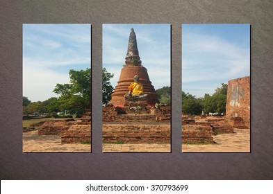 The Collage Photo of Ruin Ayutthaya Brick Temple in Sunny Day on Abstract Gray Wall Background made by Photoshop, Vintage Style for Interior Design
