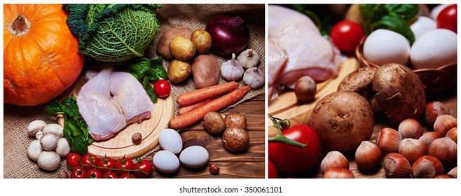 Collage photo. Top view at variety of fresh vegetables, raw chicken legs, eggs and nuts on a burlap and a wooden background and close view at mushrooms and hazelnuts.