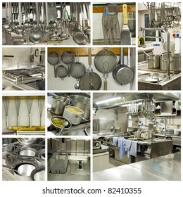A collage of photos about kitchen restaurant