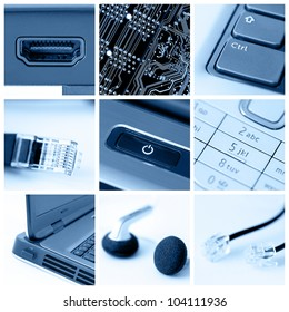 A collage of photos about technology theme