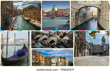 A collage of photos of attractions Venice Italy.